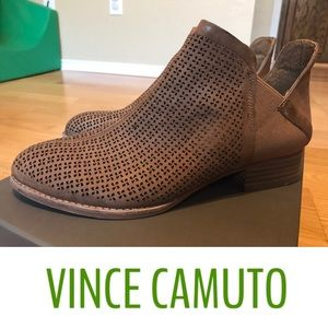 2846e176b98 Vince Camuto Celena Perforated Taupe Suede Booties